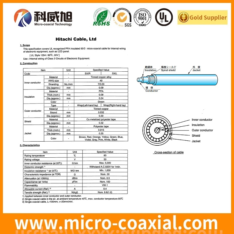 custom fine micro coaxial cable assemblies